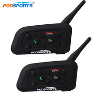 Fodsports 2pcs Lot V6 Pro Motorcycle Helmet Bluetooth Headset Free Metal Intercom 6 Riders 1200M BT