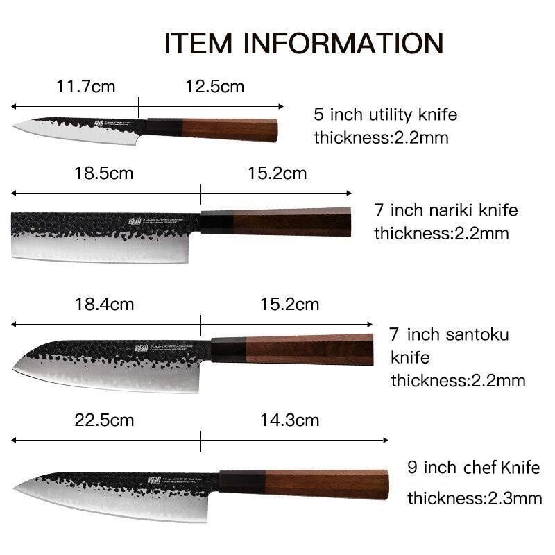 Ev ve Bahçe'ten Bıçak Setleri'de FINDKING 4 adet Kaplı Çelik Japon Profesyonel Sekizgen Saplı Mutfak Bıçağı Nakiri Santoku Maket Bıçağı'da  Grup 2