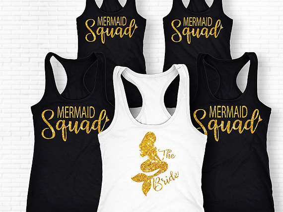 8975e43475d4 personalize glitter Mermaid Squad bride singlets Bachelorette Bridesmaids  Tank tops tees bridal shower t Shirts Party gifts