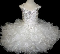 Beautiful White Kids Cupcake Dress Organza with Crystal Scoop Neck Lovely Girls Pageant Gowns