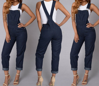 Blue Women Fashion Denim Jeans Jumpsuit Overalls Loose Strap Jumpsuit Playsuit Rompers Trousers