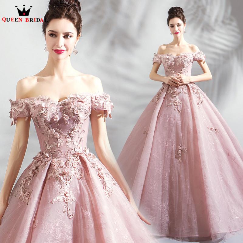 Detail Feedback Questions about Ball Gown Cap Sleeve Lace Flowers Pearls Pink  Formal Luxury Evening Dresses 2018 New Arrival Evening Gown Robe De Soiree  ... 685425654d96
