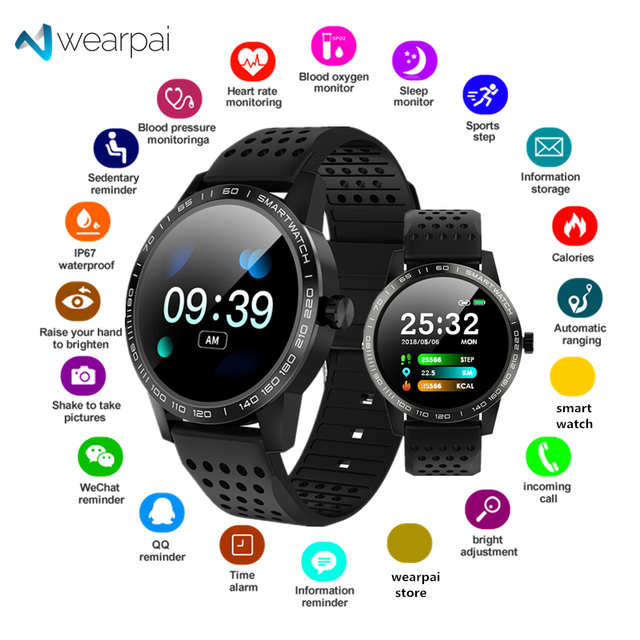 Wearpai T2 bluetooth smart watch men women Fashion Fitness Tracker Heart Rate monitor watches for android ios waterproof ip67