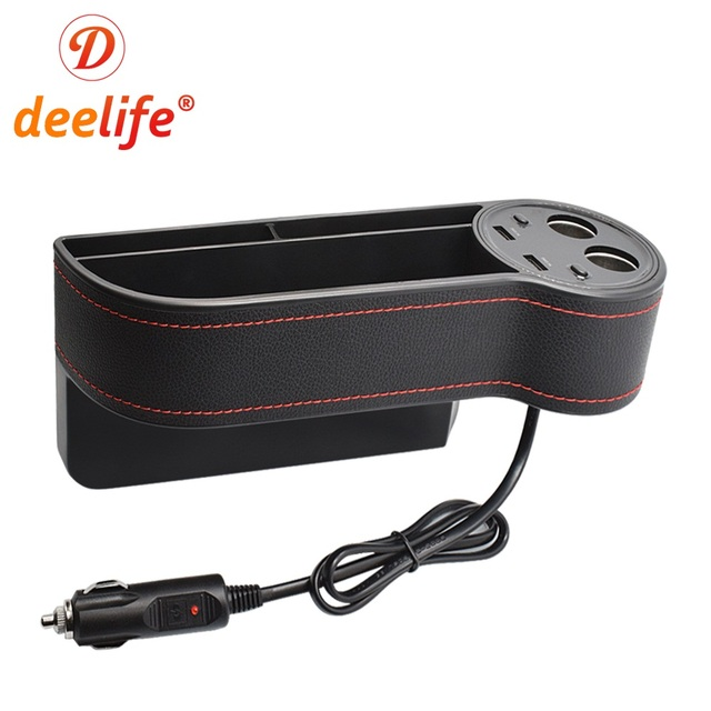 Deelife Car Seat Gap Organizer Crevice Storage Box Auto Stowing Tidying For Phone Wallet Card Cigarette Lighter PU Case Pocket