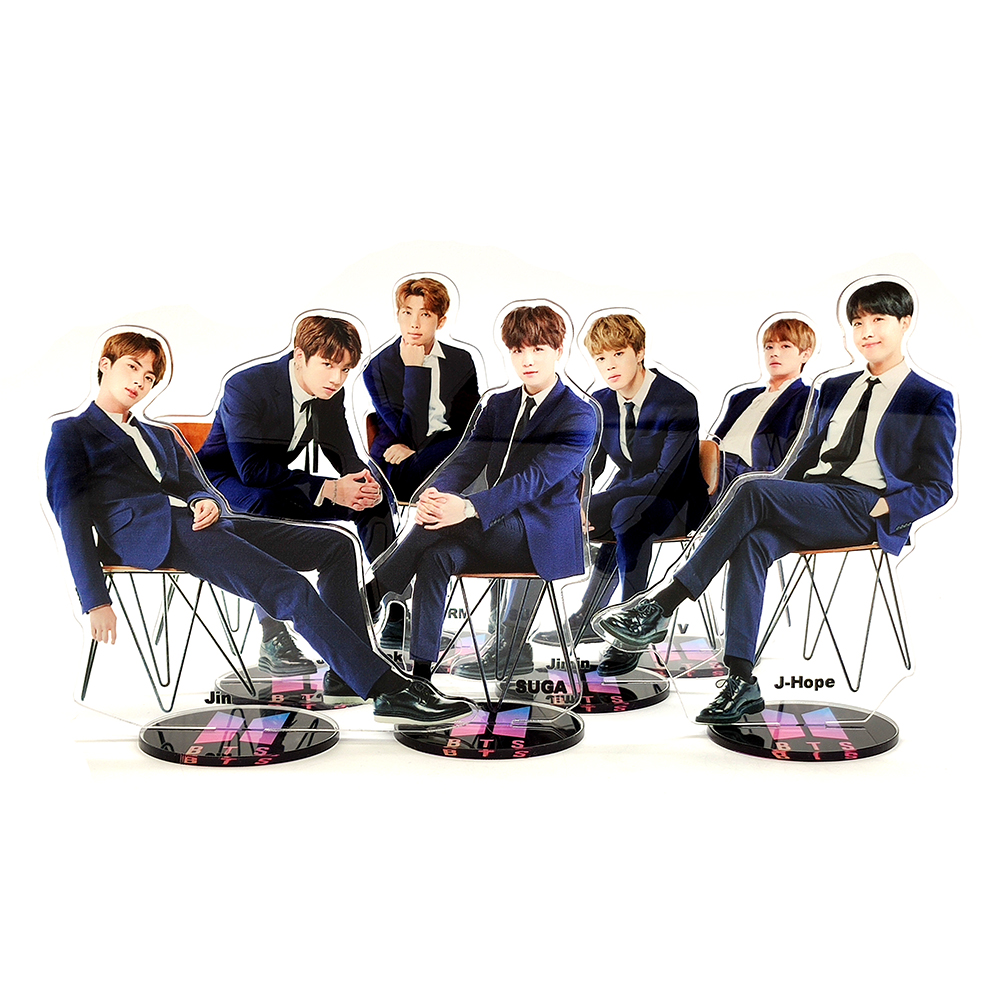 Bangtan Boys Groups Formal Wear Sitting KPOP Stars Group Acrylic Stand Figure Model Double-side Plate Holder Cake Topper Idol