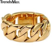 Mens Bracelets Hip Hop Big Heavy Gold Curb Cuban Link Chain 316L Stainless Steel Bracelet For Male Jewelry Wholesale 31mm KHB127