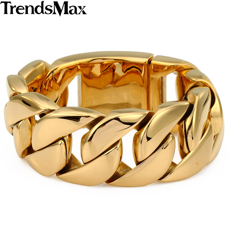 Trendsmax Heavy Biker Gold-color316L Stainless Steel Curb Sport Bracelet Mens Chain Boys Wholesale Jewelry 21.8cm HB127