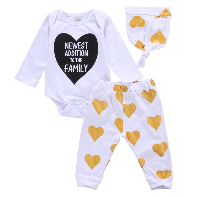 New Casual Newborn Baby Boy Girl Clothes Long Sleeve Tops +Long Pants Hat 3PCS Outfit Set Clothes