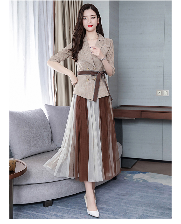 2019 Two Piece Sets Outfits Women Office Suit With Belt And Pleated Skirt Suits Vintage Korean Ladies 2 Piece Sets Femme 43