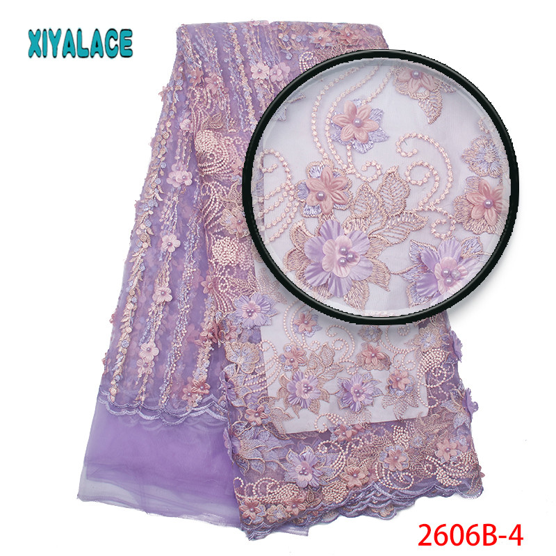 Bridal Lace Fabric High Quality Latest African Lace Fabric 2019 Embroidery French 3d Lace Fabric For Wedding Lace Fabric 2606b-in Lace from Home & Garden    1