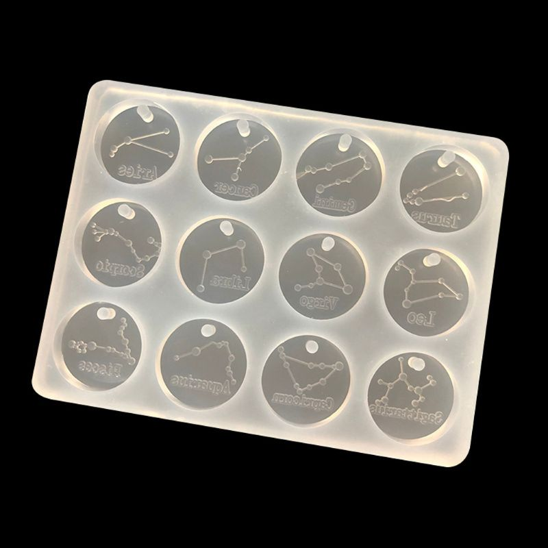 12 Constellations Discs Pendant Epoxy Resin Silicone Mold Jewelry Making Tools