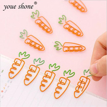 10PCS Kawaii carrot shape paper clip creative cute cartoon simple stationery bookmark Metal 3.5*1 YOUE SHONE