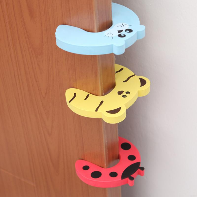 5 Pcs/set Cartoon Animal Baby Finger Protector Baby Helper Kids EVA Safety Door Stopper Finger Pinch Guard Lock Random Color