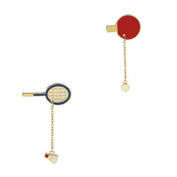 Fashion Brooch Pin Badges unique Design Pingpong Badminton racket & Ping pong paddle Red Enamel Brooches for women men image