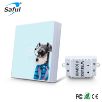 Saful Wireless Touch Switch Waterproof Light Remote Control Wall 1 Gang 1 Way Luxury Tempered Glass 110 240VAC Home Switch