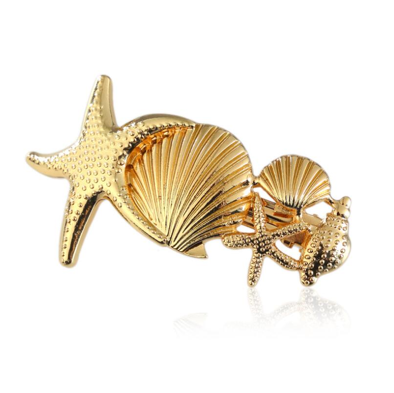Hfarich Gold Color Bow With Man made Pearl Hair Clips for Women Hair pins Sea Star Scallop Hair Accessories femme in Hair Jewelry from Jewelry Accessories