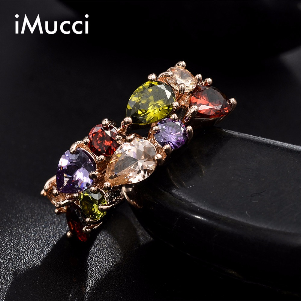 Imucci Colorful Cubic Zirconia Engagement Ring Hypoallergenic Copper Rose  Wedding Rings For Women Wholesale(china