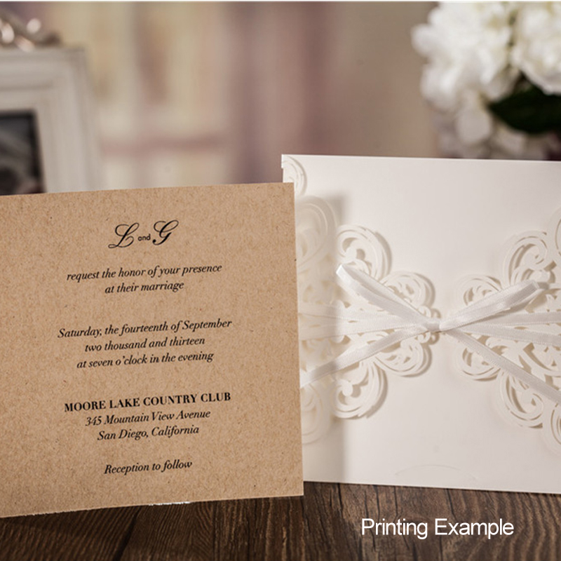 50 Pieces Lot Wishmade Laser Cutting Navy Blue Wedding Invitation Card Elegant Kraft Invitations For Engagement Party Cw6175b In Cards From