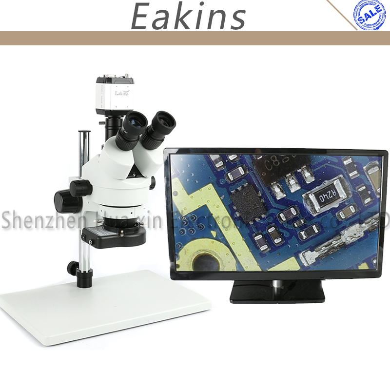 7X-45X Trinocular Industry Inspection Zoom Stereo Microscope + VGA USB AV TV Video Camera +144 LED Light + Big stand continuous zoom binocular visual 7x 90x trinocular stereo microscope digital microscope camera vga cvbs usb av tv outputs