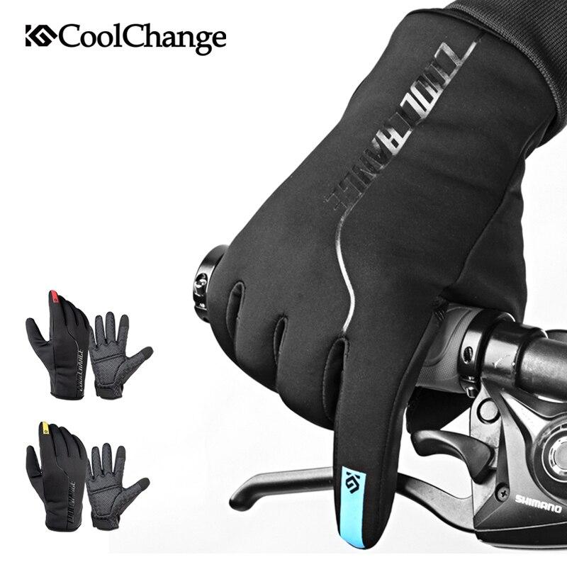 CoolChange invierno guantes de ciclismo térmica cálido a prueba de viento dedo completa bicicleta guantes Anti-slip pantalla táctil bicicleta guantes de las mujeres de los hombres