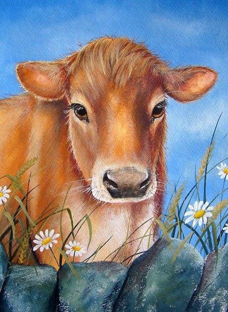 Offre spéciale-peinture à l'huile de haute qualité-Jersey vache # TOP décor animalier ART peinture à l'huile sur toile-frais de port gratuits
