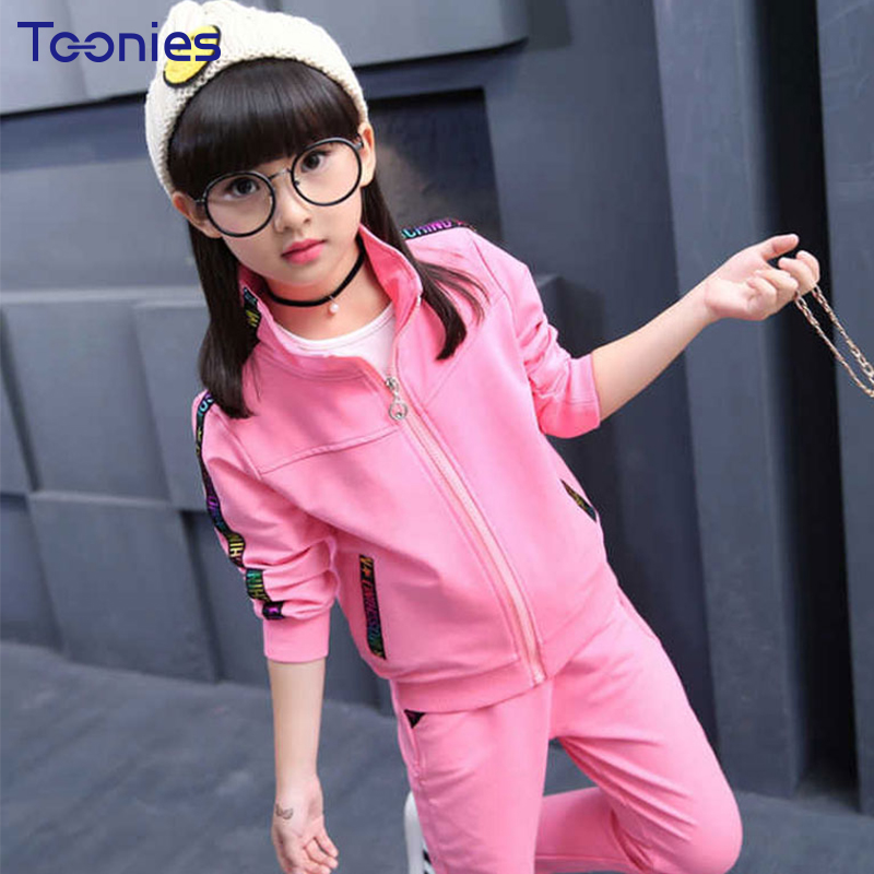 Fashion Children Clothing Sets New Fashion Spring Autumn Girls Trousers Suits Long Sleeves Casual Letters Print Girl Sportswear 2017 spring autumn children girls set new brand fashion solid shirts cotton pants 2 pieces suits casual kids clothing sets hot