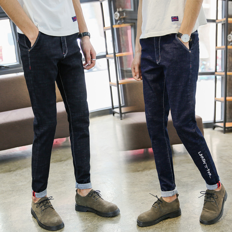 Men's jeans 2017 new fashion solid black color stretch skinny jeans Feet pants Male casual trousers male pants Tights top quality denim black jeans fashion solid stretch skinny jeans feet pants male casual jeans slim fitness cotton trousers 60038