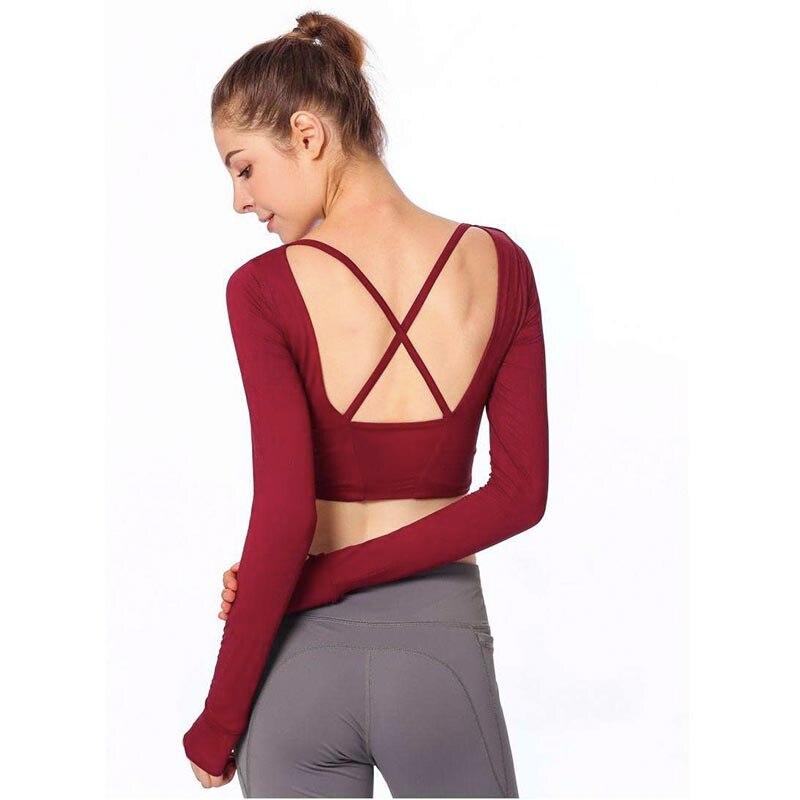 aa143db2e6f37 2019 Women Gym White Yoga Crop Tops Yoga Shirts Long Sleeve Workout Tops  Fitness Running Sport T-Shirts Training Yoga Sportswear