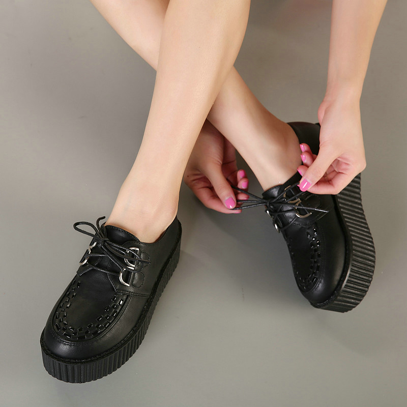 a53f9a7f3d7a Big Size 40 Spring Autumn Flat Shoes Vintage Women Creepers Platform Shoes  Woman Flatform Black Suede Creepers For Women