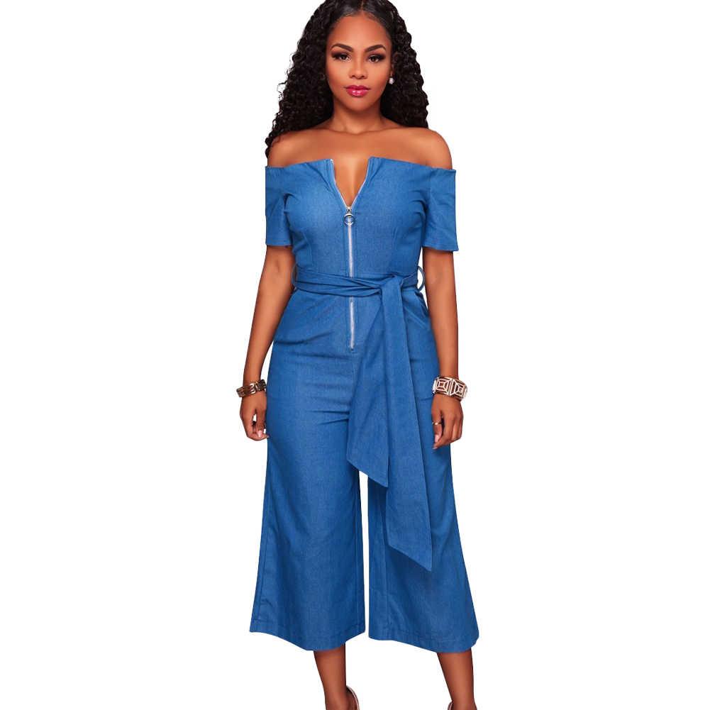 Новый модный сексуальный женский комбинезон с открытыми плечами, с широкими штанинами, на молнии спереди, с поясом, высокий приталенный легкий костюм с шортами, комбинезоны, джинсовые джинсы