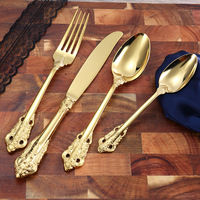 Joyclad Palace Retro Style Gold Silver Dinnerware Top Grade Hotel Dining Hall Dinner Tableware Sets Home