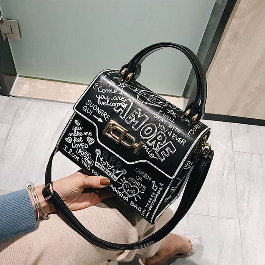Designer Fashion Graffiti Women Handbags PU Leather Small Flap Bag Luxury Crossbody Bags For Women Evening Clutch Purse 2020
