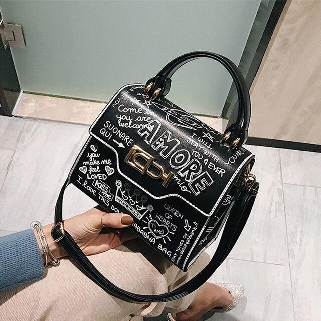 Designer Fashion Graffiti Women Handbags PU Leather Small Flap Bag Luxury Crossbody Bags For Women Evening Clutch Purse 2020
