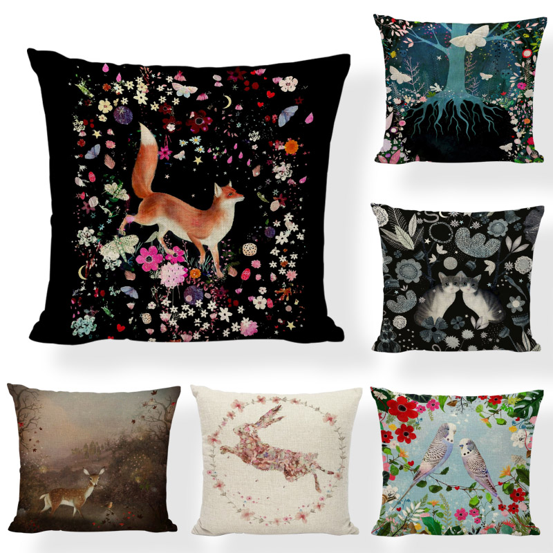 Dream Style Cushion Cover Rabbit Sika Deer Horse Girl 43