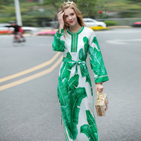 Europe And United States Stand Spring 2017 Female Heavy Beaded Leaf Split Dress Sexy Long Sleeve