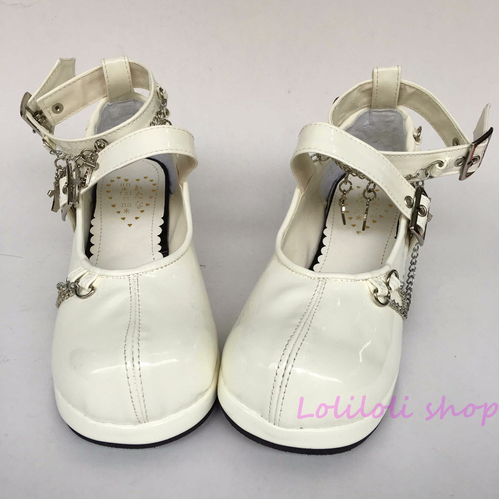 Princess sweet lolita shoes Lolita style Japanese design customized shoes white matt chain special shaped lace-up shoes 1f73 цена