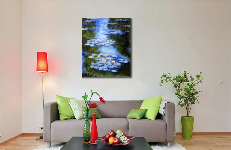 Handmade-oil-painting-reproduction-of-Claude-Monet-High-quality-Water-Lilies-blue-green-Living-room-decor (2)