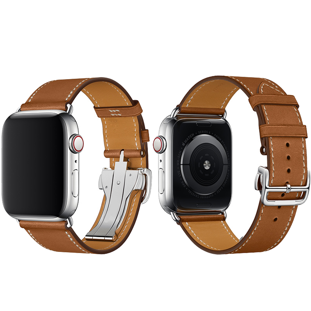 CRESTED Genuine leather strap band for apple watch iwatch series 3/2/1 42mm 38mm bracelet wrist band with metal Butterfly buckle for apple watch band leather watchband for iwatch bands 42mm 38mm series 3 2 1 butterfly buckle bracelet strap wrist accessories