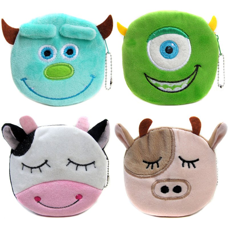 2017 Hot Sale Monster University Cartoon Plush Coin Wallets Children Money Purses Women Mini Storage Bags hot sale 12cm foreign chavo genuine peluche plush toys character mini humanoid dolls