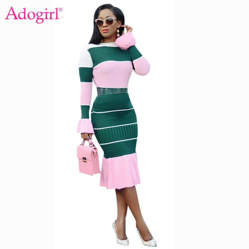 Adogirl Colorful Stripe Knitted Two Piece Set Dress Women Long Flare Sleeve T-shirt Top High Waist Midi Mermaid Skirt Outfits
