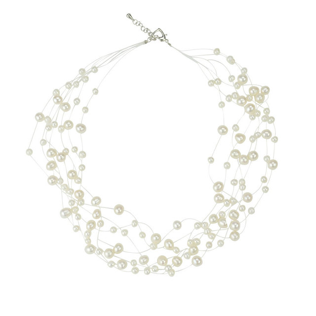 Fashion Multi Strand Pearl Chunky Wedding Necklace Le Waterfall Statement Costume Accessories Jewelry