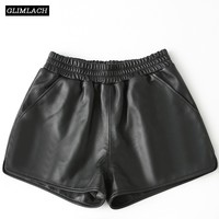 Autumn Winter Genuine Leather Shorts Women Sheepskin Real Leather Shorts 2019 Vintage Casual Sexy Ladies Wide Leg Black Shorts