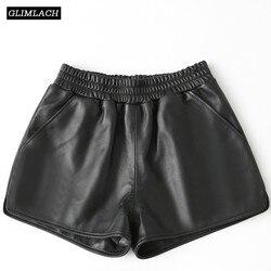 Neue Echtes Leder Breite Bein Shorts Frauen 100% Schaffell Echt Leder Shorts Casual Sexy Damen Lose Hohe Taille Schwarz Shorts