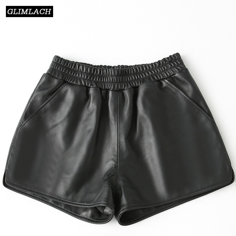 New Genuine Leather Wide Leg Shorts Women 100% Sheepskin Real Leather Shorts Casual Sexy Ladies Loose High Waist Black Shorts