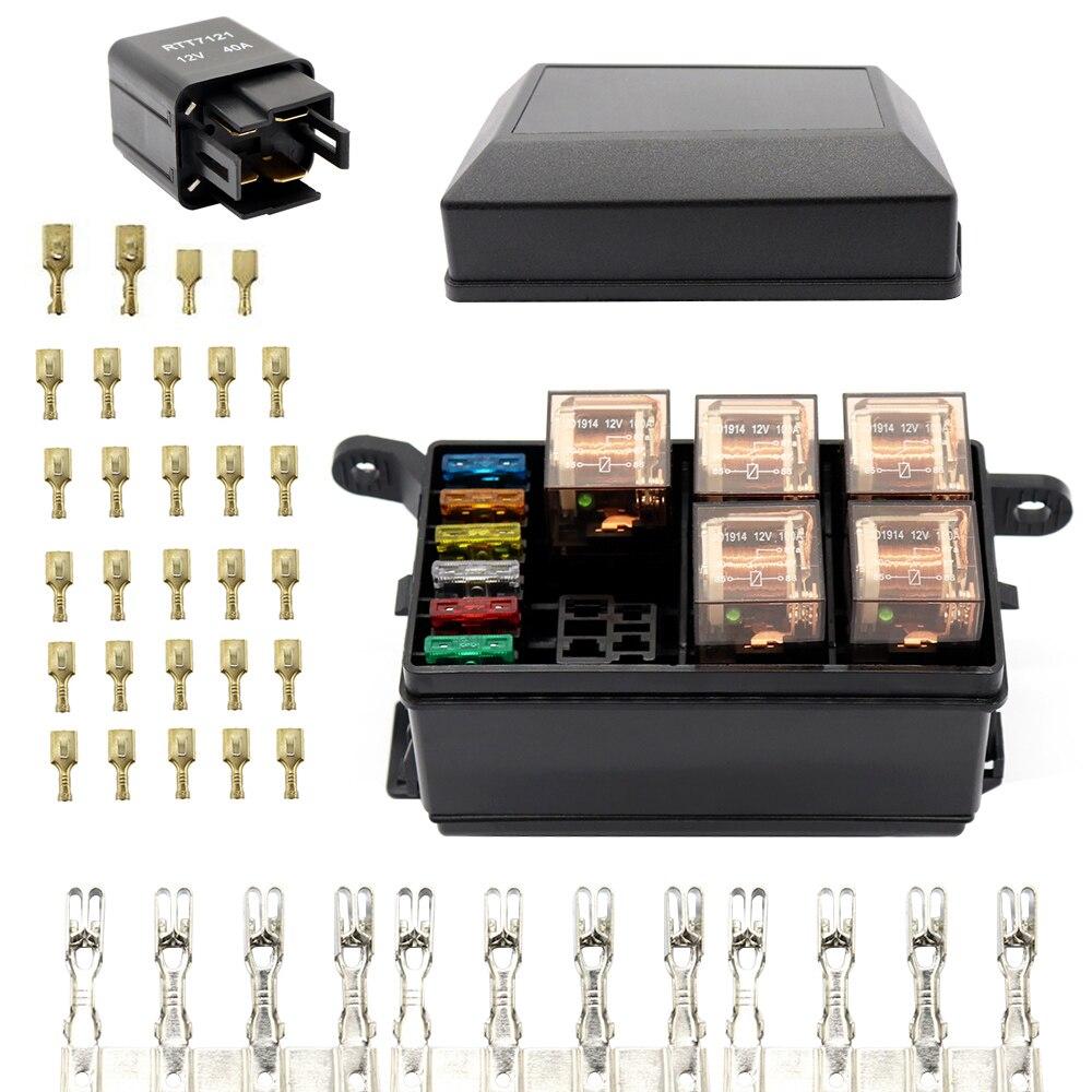 12 slot relay box 6 relays slots 6 atc ato standard fuses. Black Bedroom Furniture Sets. Home Design Ideas