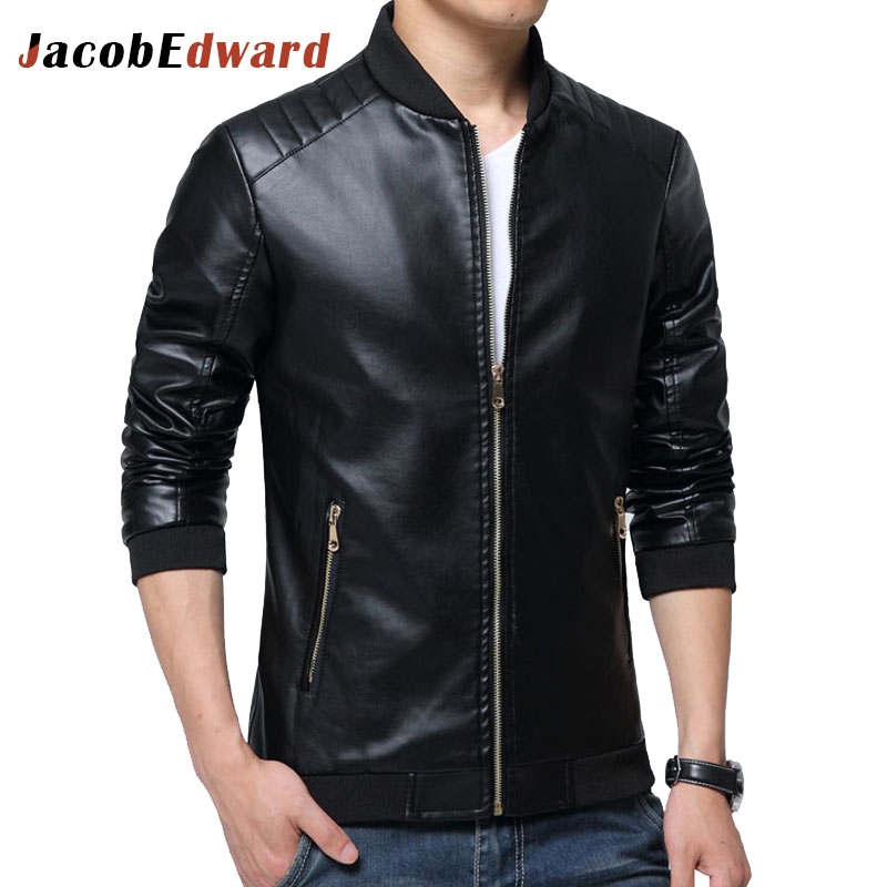 JacobEdward Brand Leather Jackets Mens Bomber Jacket 2017 Spring Leather Jackets Men Clothing Pu Long Sleeve