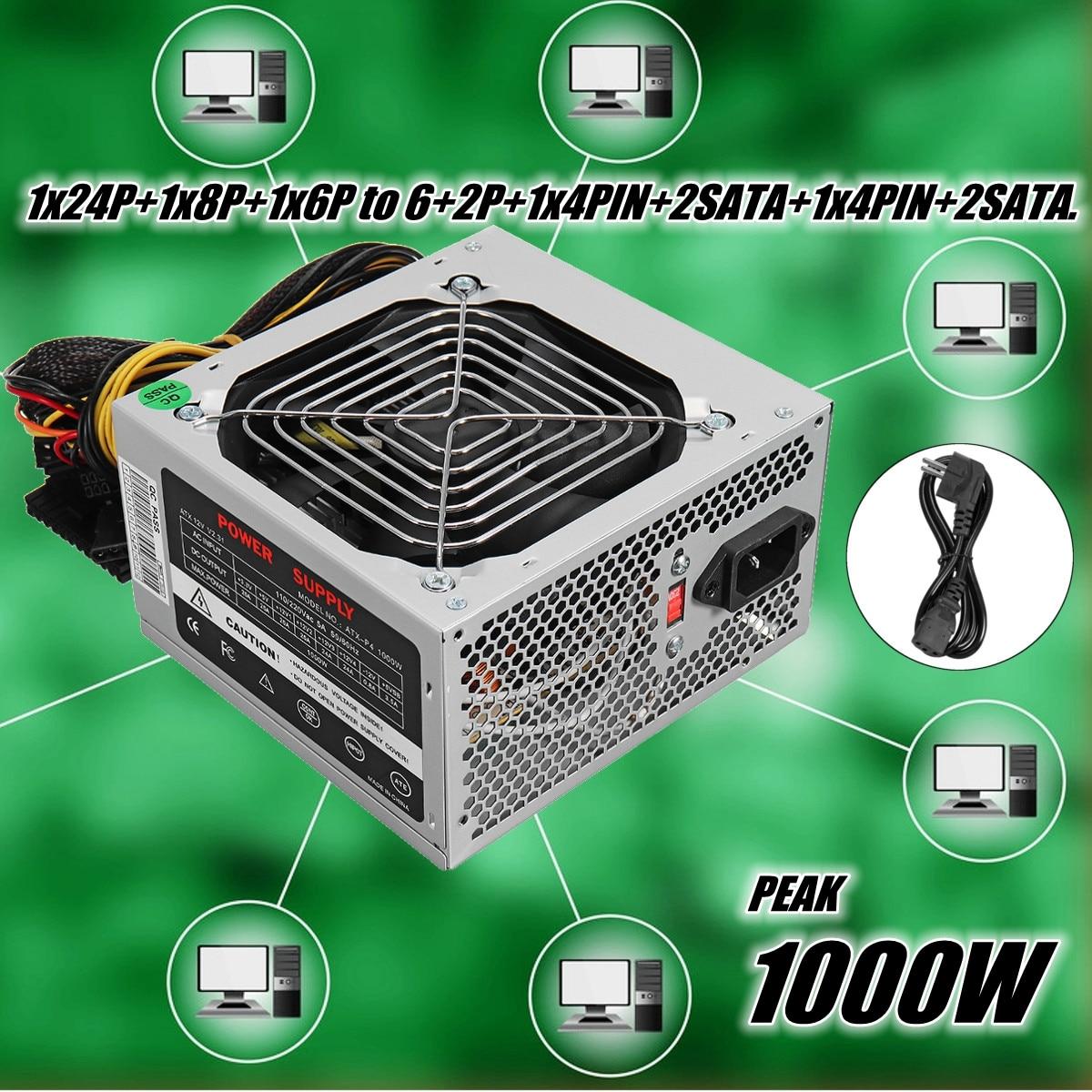Блок питания ATX Вт 1000 + тихий вентилятор для Intel AMD PC PSU PC компьютер горной машины