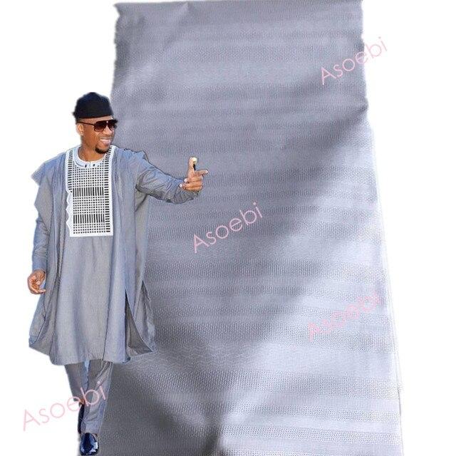 Best Atiku di Vendita Degli Uomini di Materiale Tessuto Africano Cielo Blu a Colori di Nizza di Qualità Smalto Del Merletto 5 Yards Per Pezzo I Disegni Della Miscela 30