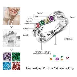 Image 4 - ครอบครัวมิตรภาพแหวนแกะสลักชื่อที่กำหนดเอง 4 Birthstone 925 เงินสเตอร์ลิงแม่แหวนสำหรับแม่ (JewelOra RI102509)