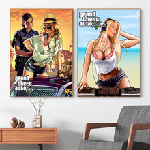 GTA 5 Sexy Girl Artwork Posters And Prints Canvas Art Decorative Wall Pictures For Living Room Home Decor Unframed Painting